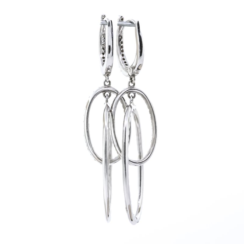 Iroff and Son Jewelers  18K White Gold Dual Oval Diamond Interlocking Dangle Earrings
