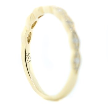 14K Yellow Gold Marquise Shapes Round Diamond Wedding Band SZ 6.5
