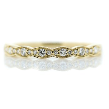 14K Yellow Gold Marquise Shapes Round Diamond Wedding Band SZ 6.5