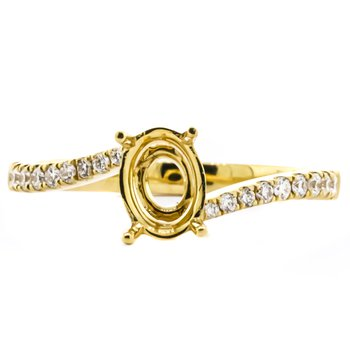 18K Gold Bypass Oval Semi mount Engagement Ring