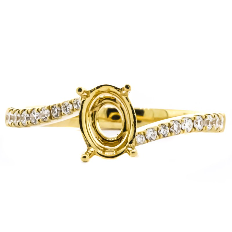 Iroff and Son Jewelers  18K Gold Bypass Oval Semi mount Engagement Ring