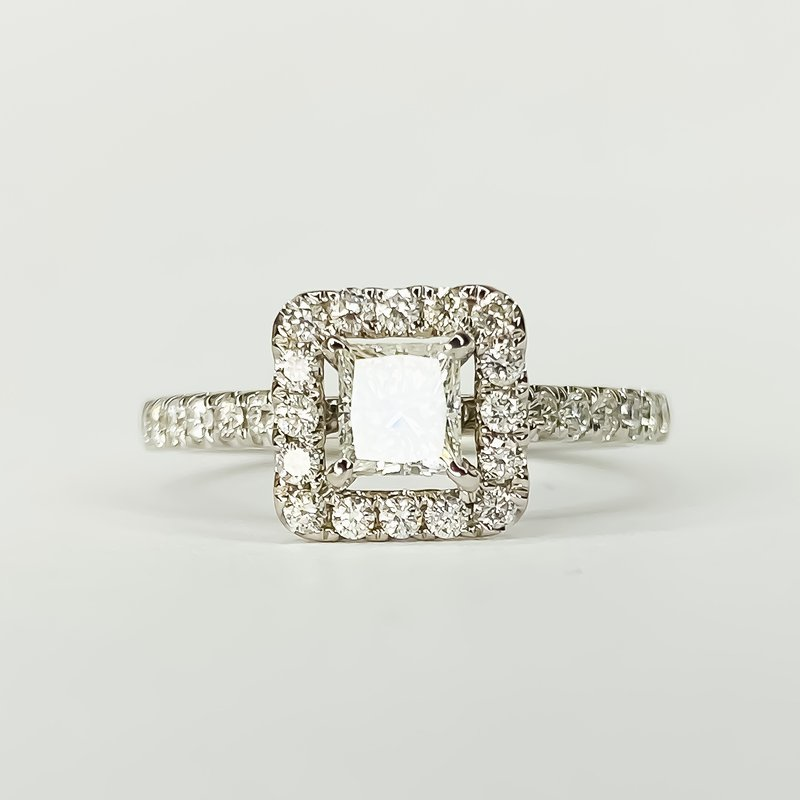 Iroff and Son Jewelers  14K White Gold Square Halo Princess Diamond Engagement Ring Size 6.5