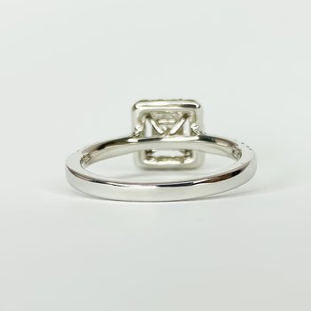 14K White Gold Square Halo Princess Diamond Engagement Ring Size 6.5