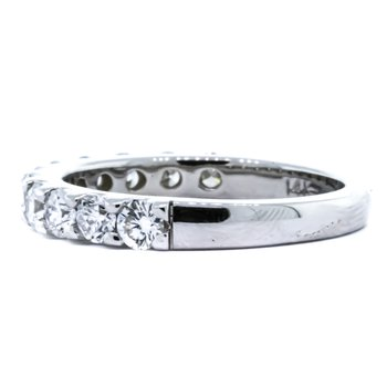 14K White Gold 1.03CTW Diamond 11 Stone Wedding Band