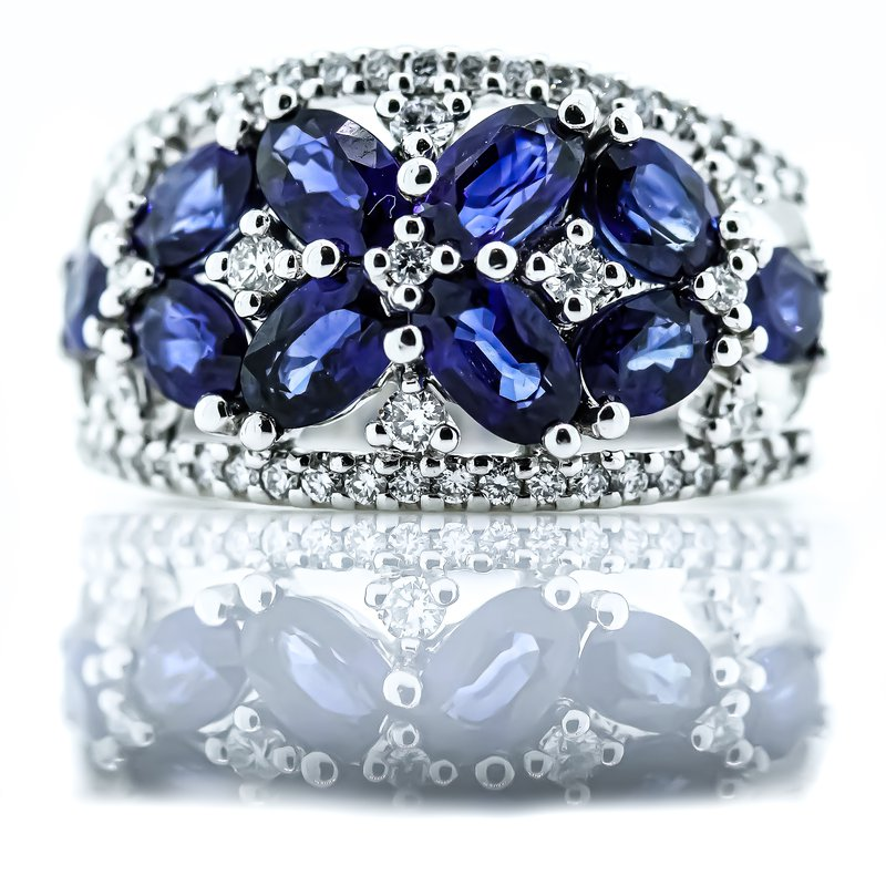 Iroff and Son Jewelers  14K White Gold Diamond and Sapphire Floral Wide Band SZ 7