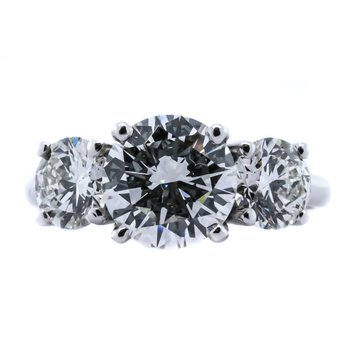 14K White Gold Three Stone Diamond Ring 3.50CTW