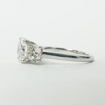 14K White Gold Three Stone Diamond Ring 3.50CTW