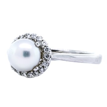 14K White Gold Akoya Pearl Diamond Halo Solitaire Ring