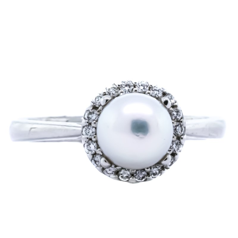 Iroff and Son Jewelers  14K White Gold Akoya Pearl Diamond Halo Solitaire Ring