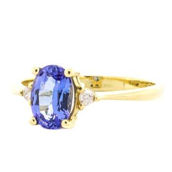 14K Gold Tanzanite Oval Diamond Accent 3 Stone Ring