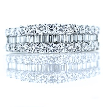 18K White Gold 3 Row Baguette and Round Diamond Anniversary Band SZ 6.5