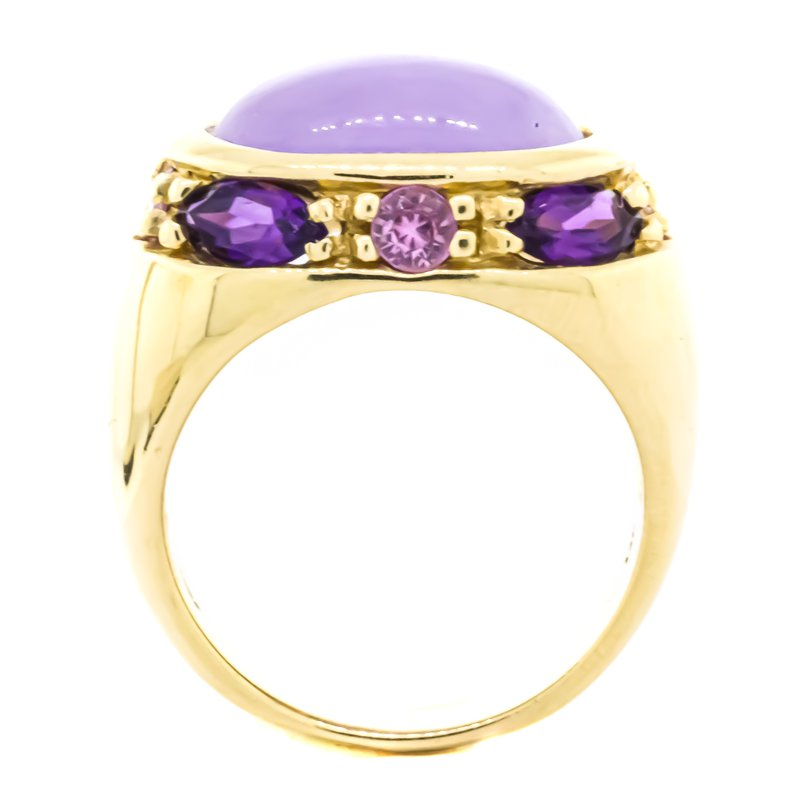 Estate Jewelry 14K Gold Oval Chalcedony and Amethyst Sapphire Accent Dome Ring