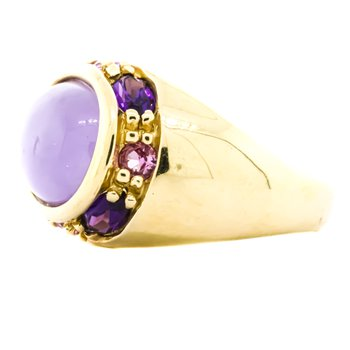 14K Gold Oval Chalcedony and Amethyst Sapphire Accent Dome Ring