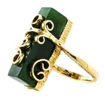 10K Gold Handmade Filigree Scroll Jade Vintage Ring