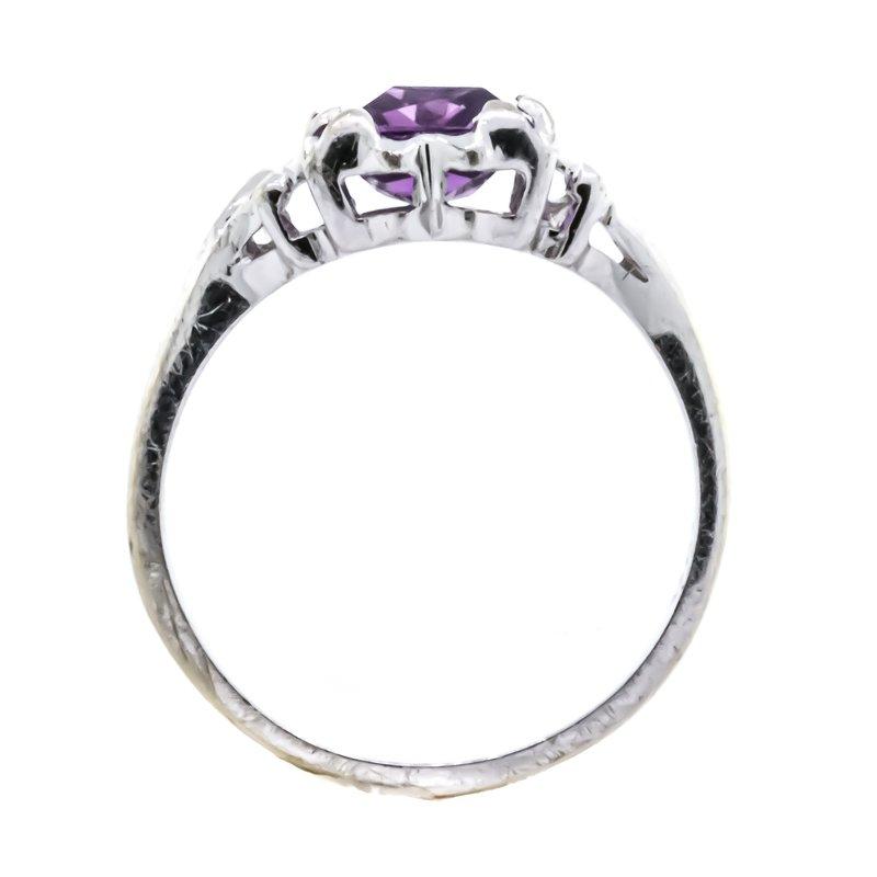 Estate Jewelry 10K White Gold Amethyst Emerald Cut Freeform Modernist Ring