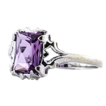 10K White Gold Amethyst Emerald Cut Freeform Modernist Ring