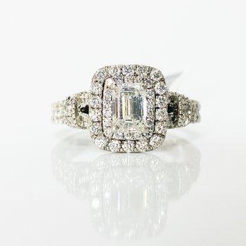 14K White Gold Rectangular Diamond Halo Split Shank Engagement Ring