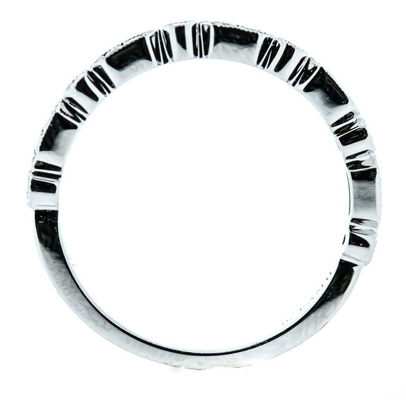 Iroff and Son Jewelers  14K White Gold Milgrain Bar Diamond Wedding Band SZ 6.5