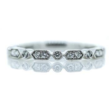 14K White Gold Milgrain Bar Diamond Wedding Band SZ 6.5