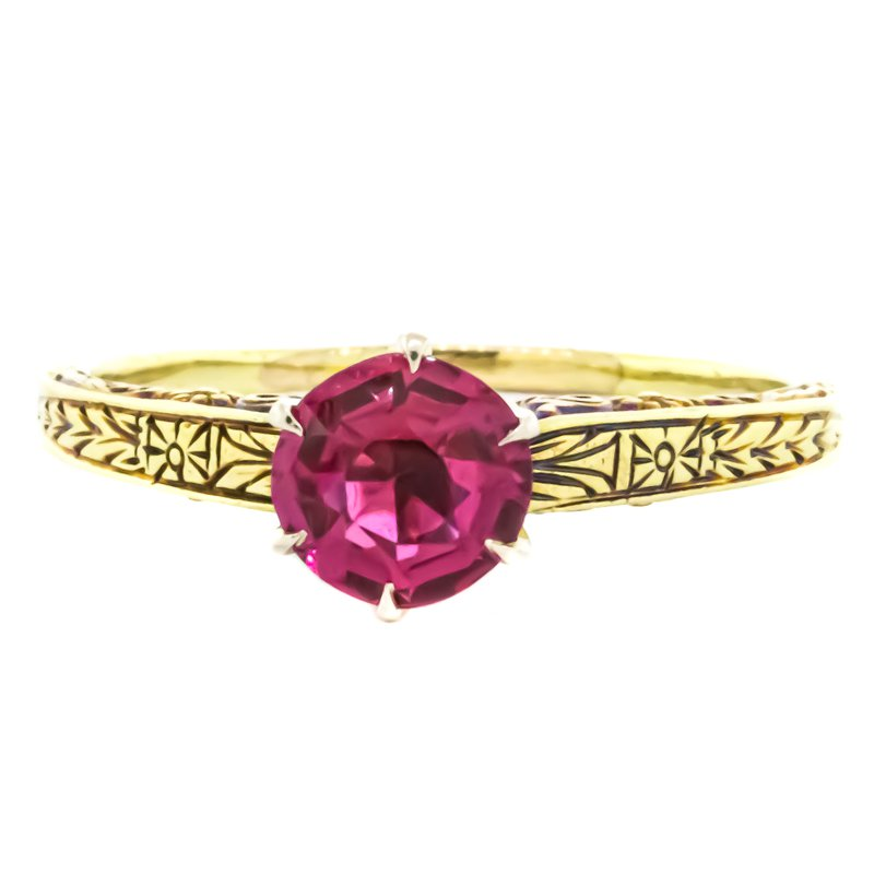 Estate Jewelry 14K Gold Cathedral Simulated Ruby Vintage Ring