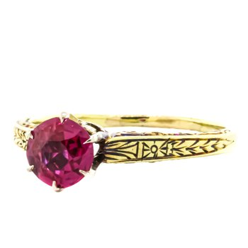 14K Gold Cathedral Simulated Ruby Vintage Ring