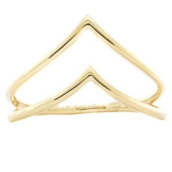 14K Gold Dual Row Chevron Fashion Ring SZ 7