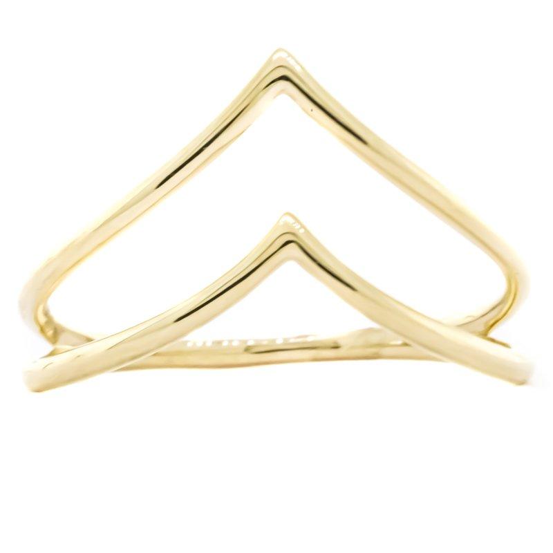 Iroff and Son Jewelers  14K Gold Dual Row Chevron Fashion Ring SZ 7