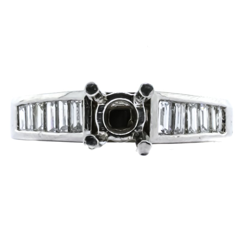 Platinum Channel Set Baguette Diamonds Semi Mounting