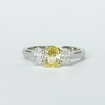 Platinum GIA Yellow Oval Three Stone Engagement Ring
