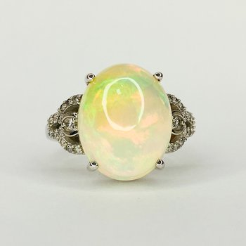 14K White Gold Oval Ethiopian Opal Diamond Accent Statement Ring Size 7