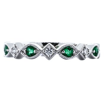 14K White Gold Milgrain Marquise Emerald and Diamond Wedding Band