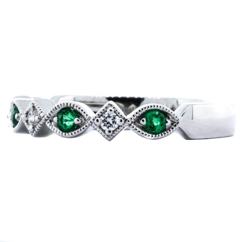 Allison-Kaufman 14K White Gold Milgrain Marquise Emerald and Diamond Wedding Band