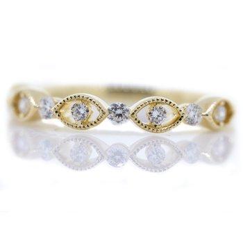 14K Yellow Gold Open Marquise Milgrain Diamond Wedding Band SZ 6