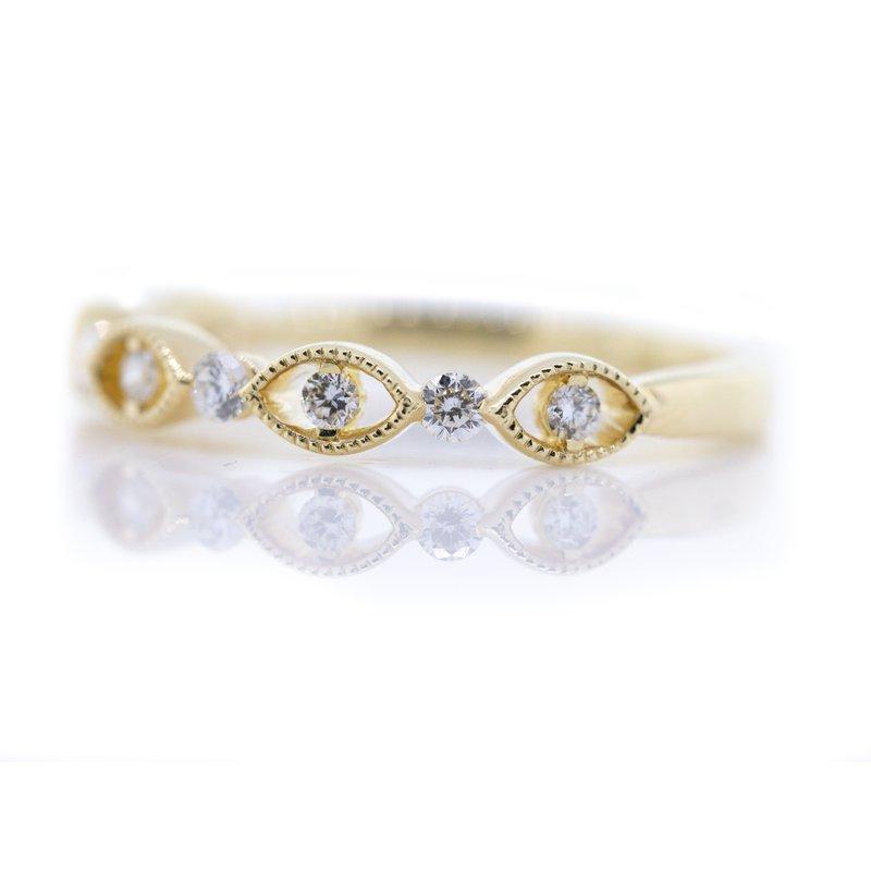 Iroff and Son Jewelers  14K Yellow Gold Open Marquise Milgrain Diamond Wedding Band SZ 6