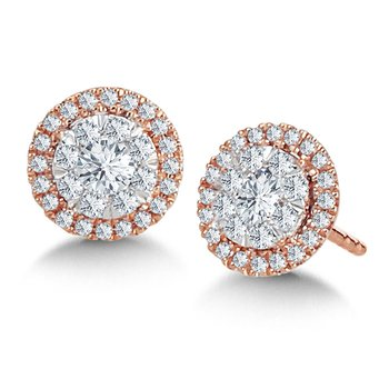 14K Rose Gold Round Cluster With Diamond Halo Stud Earrings