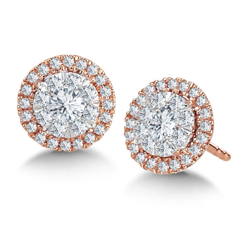 Iroff and Son Jewelers  14K Rose Gold Round Cluster With Diamond Halo Stud Earrings