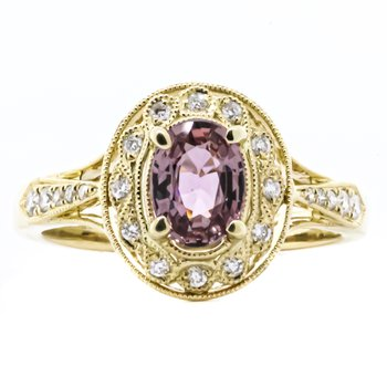 14K Yellow Gold Antique Style Pink Sapphire Center Diamond Accent Ring SZ 6.5