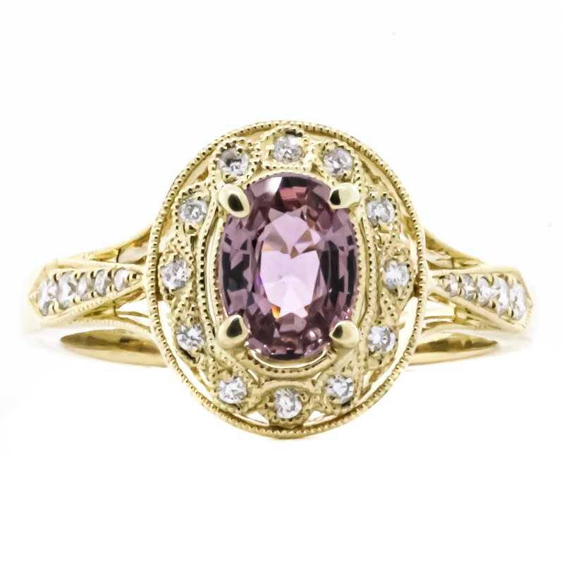 Iroff and Son Jewelers  14K Yellow Gold Antique Style Pink Sapphire Center Diamond Accent Ring SZ 6.5