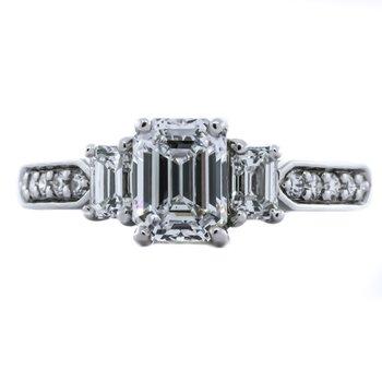 Platinum Emerald Three Stone Diamond Band Engagement Ring