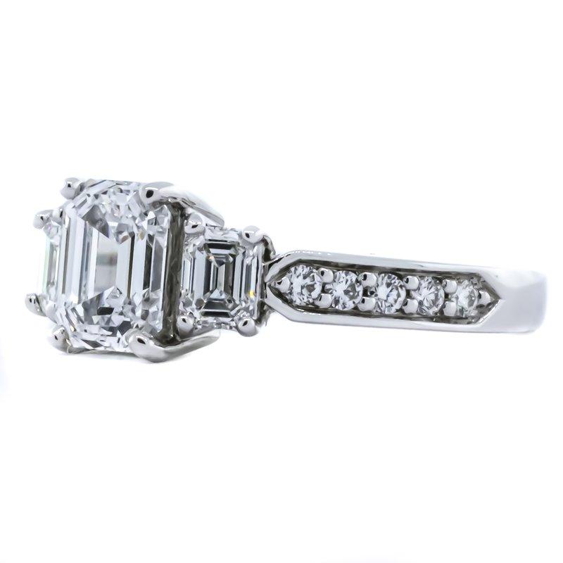 Iroff and Son Jewelers  Platinum Emerald Three Stone Diamond Band Engagement Ring