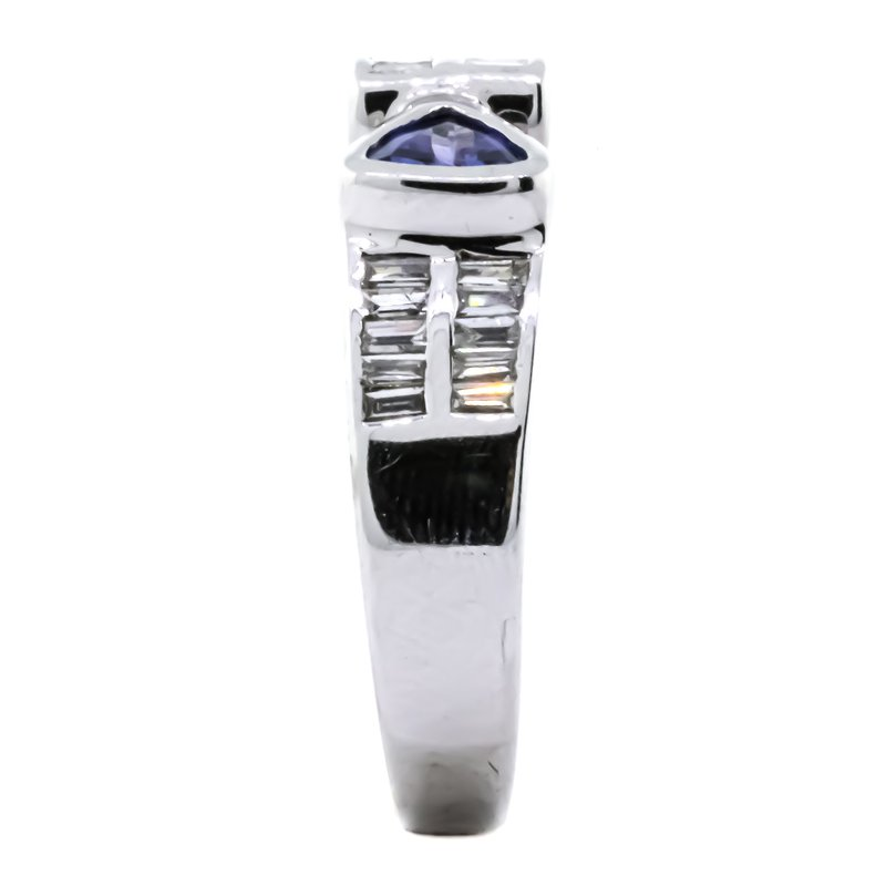 Estate Jewelry LeVian 14K White Gold Trillion Tanzanite Baguette Diamond Buckle Ring