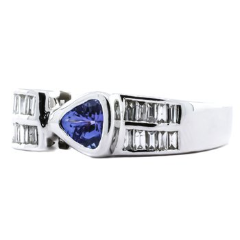 LeVian 14K White Gold Trillion Tanzanite Baguette Diamond Buckle Ring