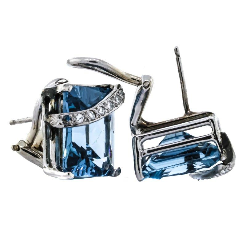 Estate Jewelry 14K White Gold Emerald Cut Blue Topaz Diamond Accent Earrings