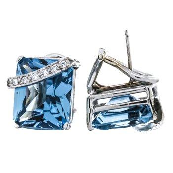 14K White Gold Emerald Cut Blue Topaz Diamond Accent Earrings