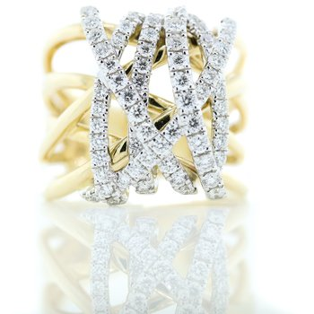 14K Yellow Gold Wide Wire Diamond Crossover Statement Ring SZ 6