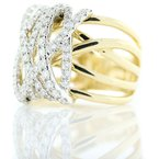 Iroff and Son Jewelers  14K Yellow Gold Wide Wire Diamond Crossover Statement Ring SZ 6