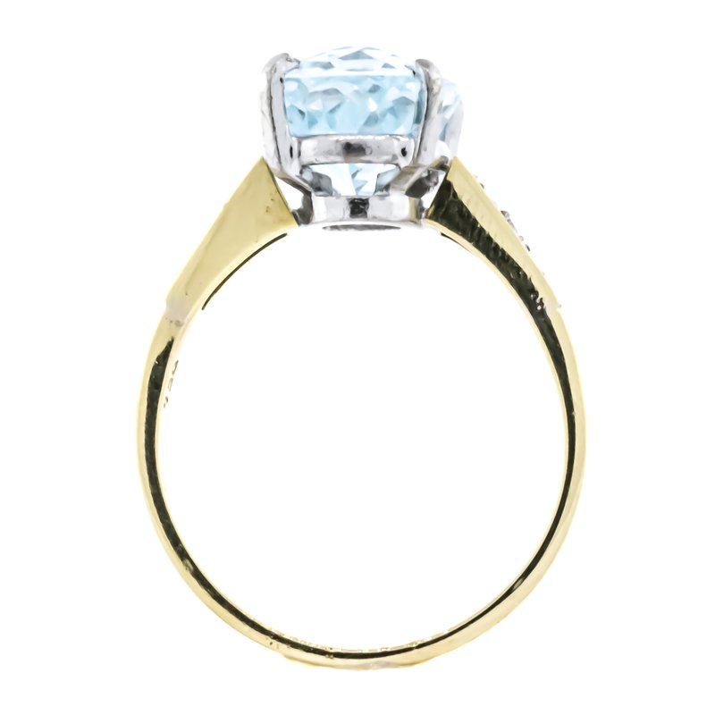 Estate Jewelry 18K Two Tone Gold Aquamarine Diamond Accent Bypass Ring