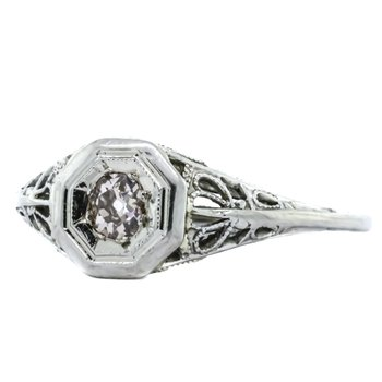 18K White Gold Diamond Floral Scroll Engagement Ring