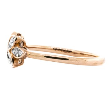 10K Rose Gold Open Floral Diamond Ring