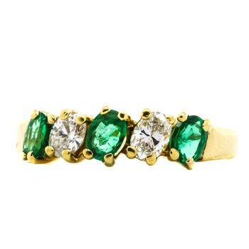18K Gold Emerald and Diamond 5 Stone Band